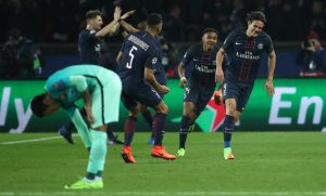 Paris Saint-Germain's Edinson Cavani celebrates scoring their fourth goal.
