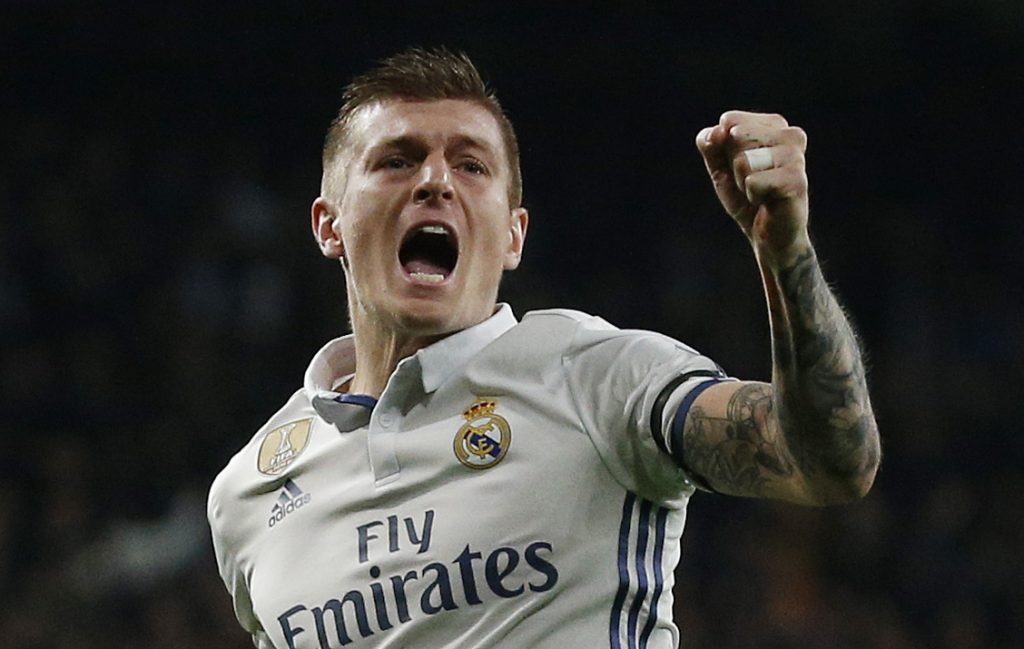 Real Madrid's Toni Kroos celebrates scoring their second goal.