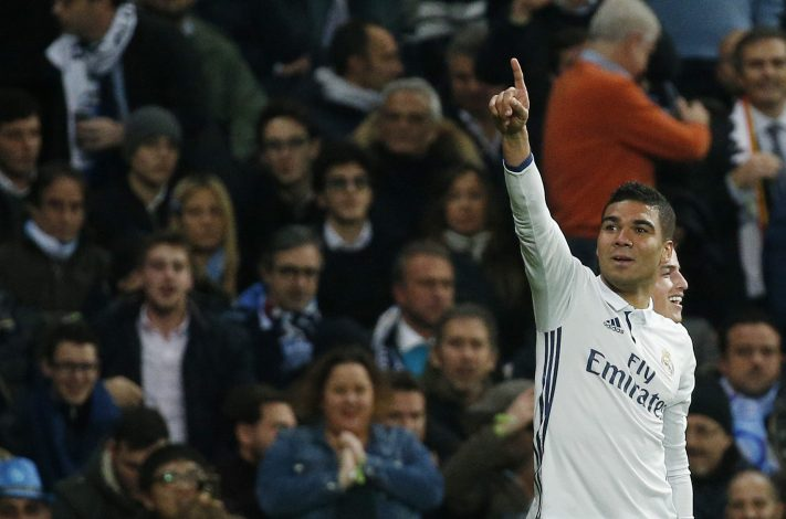 Real Madrid's Casemiro celebrates scoring their third goal.