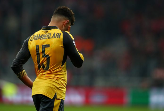 Arsenal's Alex Oxlade-Chamberlain looks dejected after the game.