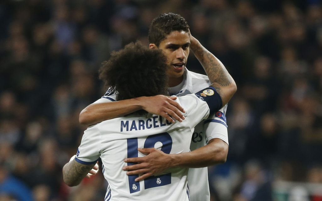 Real Madrid's Marcelo and Raphael Varane.