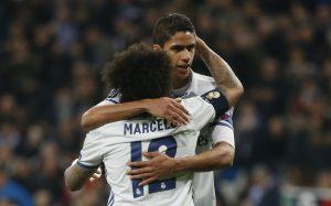 Real Madrid's Marcelo and Raphael Varane.