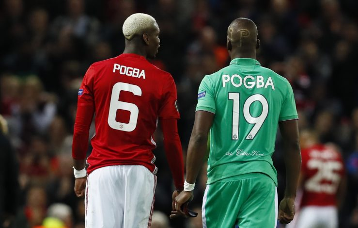 Manchester United's Paul Pogba and St Etienne's Florentin Pogba after the game.