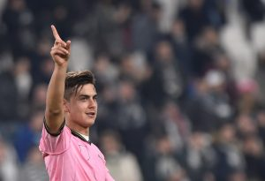 Paulo Dybala celebrates at the end of the match.