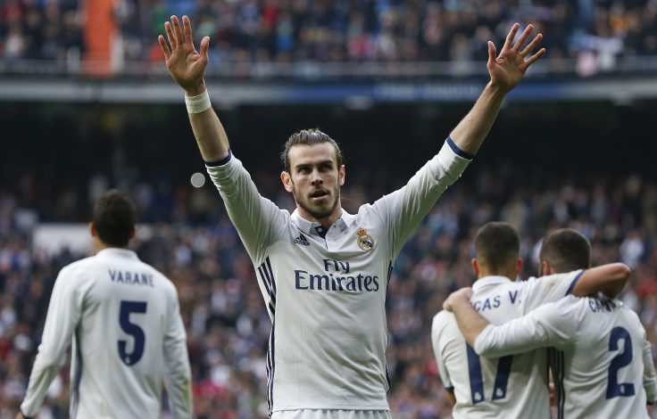 Gareth Bale celebrates after scoring against Espanyol.