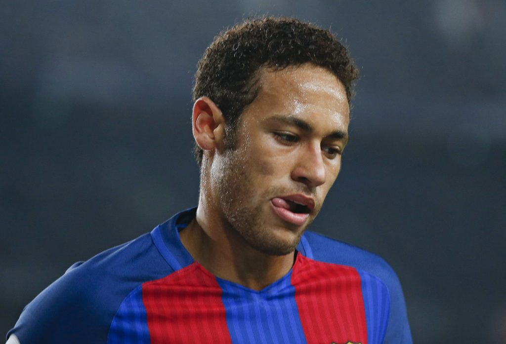 Barcelona's Neymar reacts during the match against Leganes.