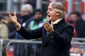 Roberto Mancini gestures during match against Carpi.
