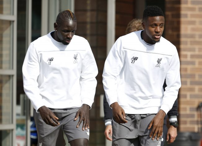 Divock Origi and Mamadou Sakho (L) during training.
