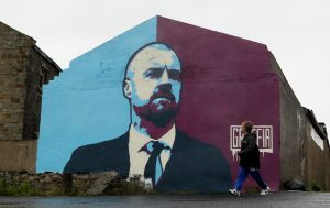 Mural of Burnley manager Sean Dyche outside the stadium.