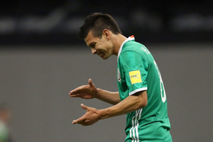 Mexico's Hirving Lozano reacts.