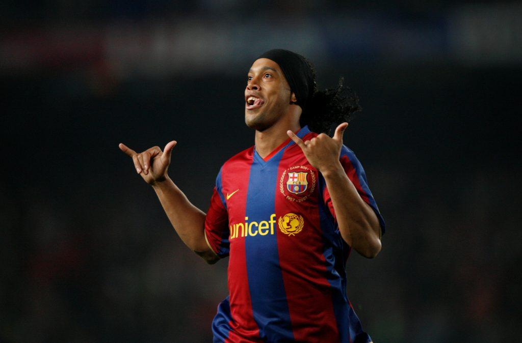 Barcelona's Ronaldinho celebrates his goal.