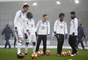 Chelsea's Nemanja Matic, Victor Moses, Eden Hazard, Willian and Diego Costa warm up before the game.