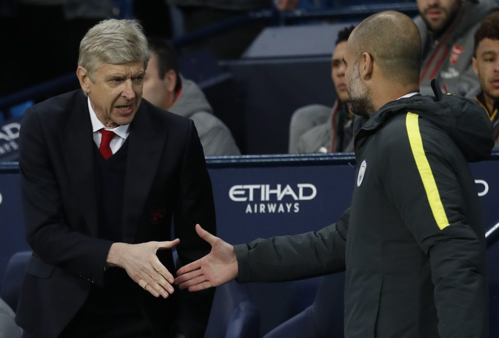 Manchester City manager Pep Guardiola with Arsenal manager Arsene Wenger.
