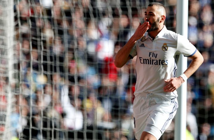 Real Madrid's Karim Benzema celebrates his first goal.