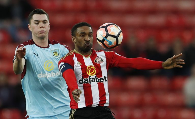 Sunderland's Jermain Defoe in action with Burnley's Michael Keane.