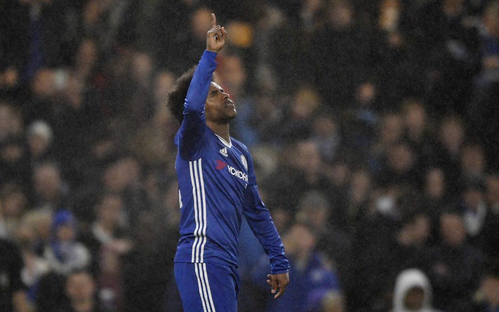 Chelsea's Willian celebrates scoring their third goal.
