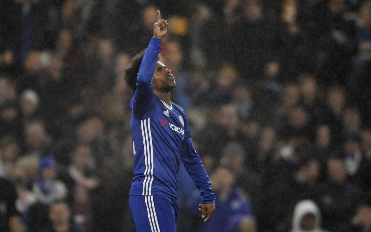 Chelsea's Willian celebrates scoring their third goal.