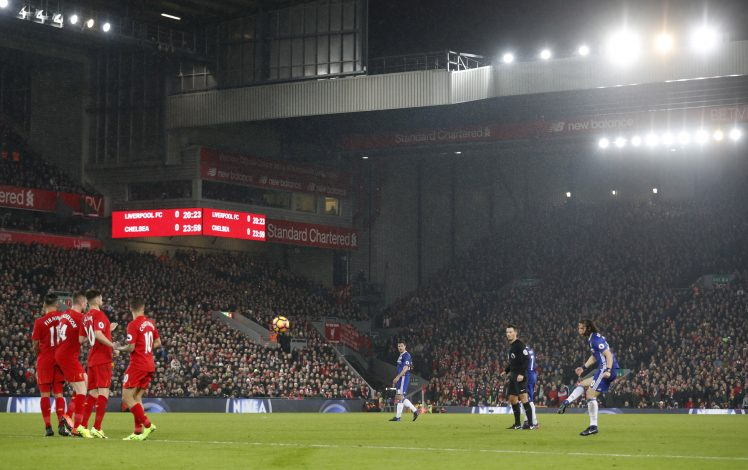 Chelsea's David Luiz scores their first goal from a free kick.