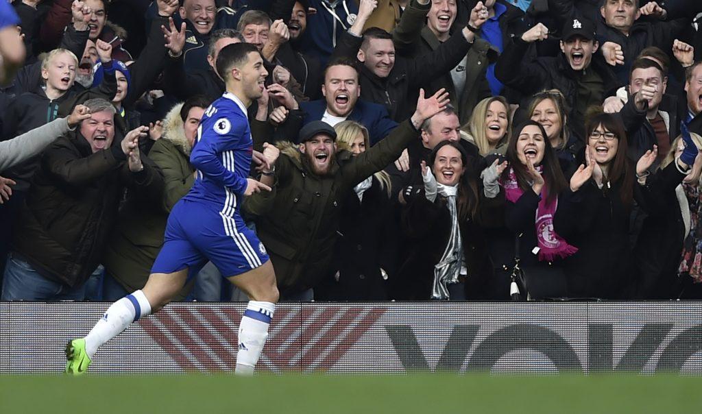 Chelsea's Eden Hazard celebrates scoring their second goal.