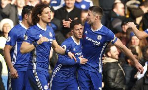 Chelsea's Eden Hazard celebrates scoring their second goal with team mates.