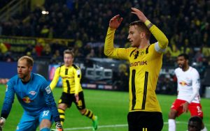 Borussia Dortmund's Marco Reus reacts.