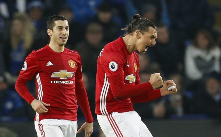 Manchester United's Zlatan Ibrahimovic celebrates scoring their second goal with Henrikh Mkhitaryan.