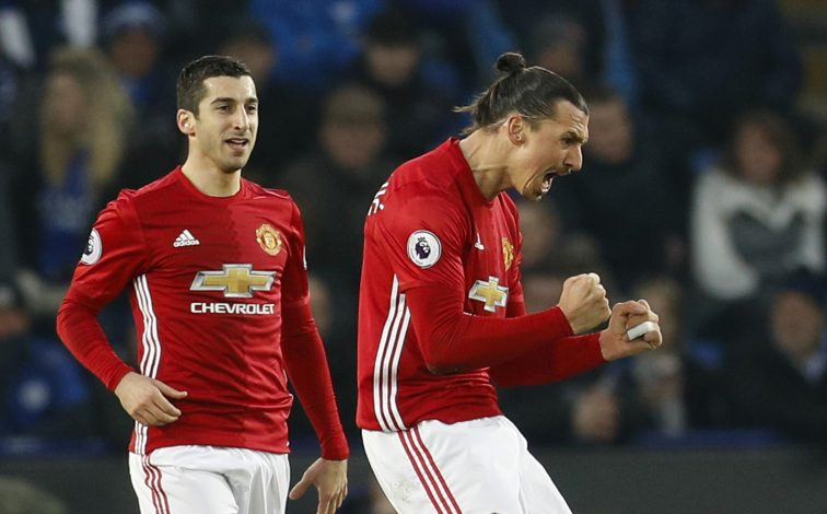 Manchester United's Zlatan Ibrahimovic celebrates scoring their second goal with Henrikh Mkhitaryan.
