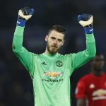 Manchester United's David De Gea celebrates after the game.
