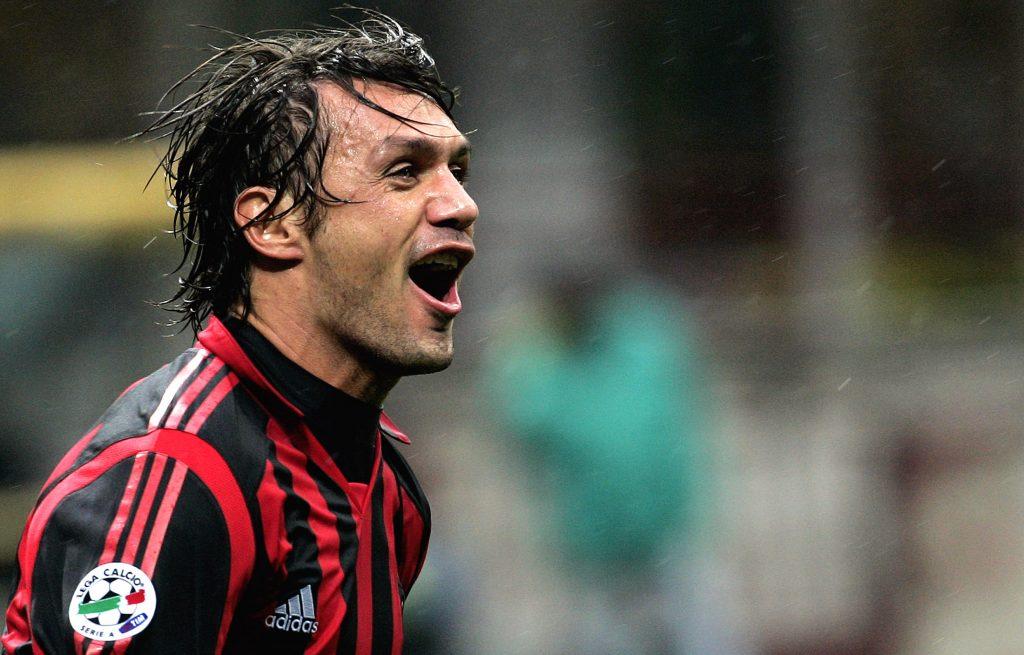 Milan's Paolo Maldini celebrates.