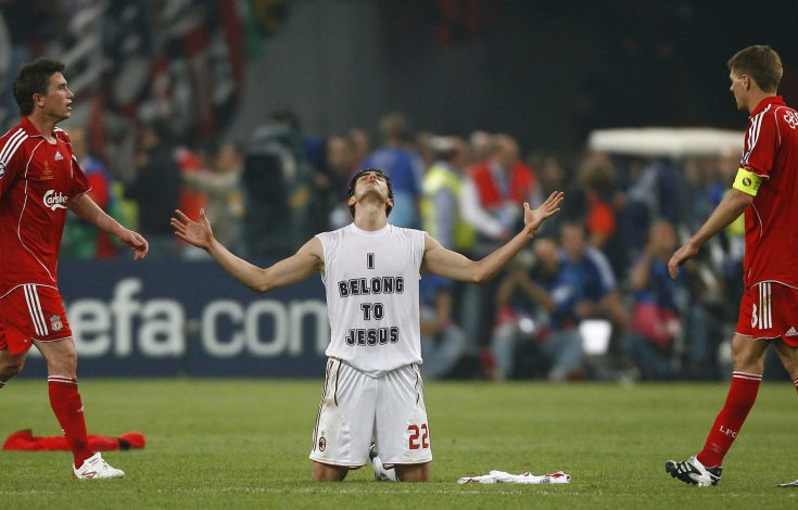 AC Milan's Kaka (C) falls to his knees after winning their Champions League final.