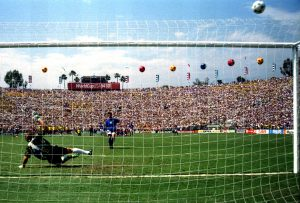 Italy's Roberto Baggio puts his penalty over the bar in the World Cup final against Brazil.