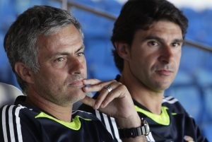 Real Madrid coach Jose Mourinho of Portugal (L) and his assistant Aitor Karanka.