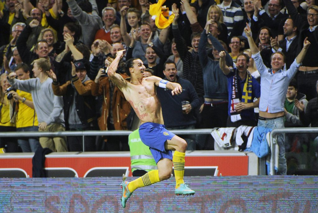 Sweden's Zlatan Ibrahimovic celebrates after Sweden's 4-2 win in the friendly soccer match against England.
