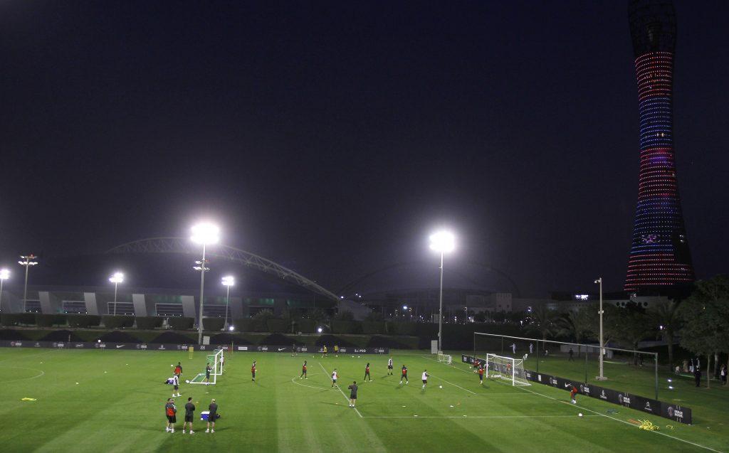Paris Saint-Germain players attend a training session.