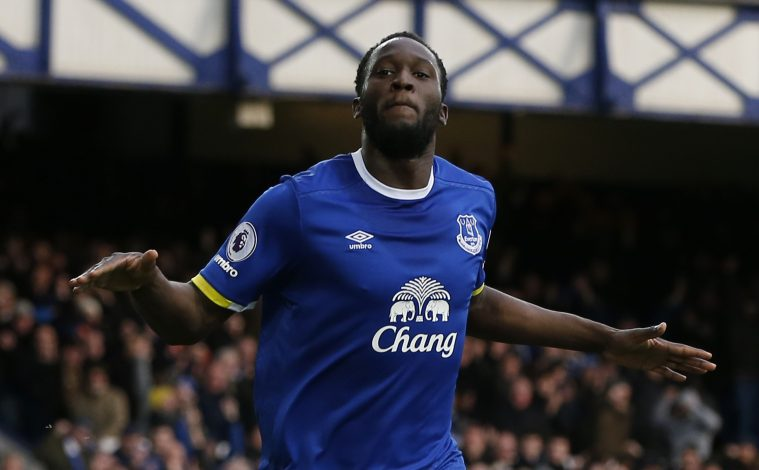Everton's Romelu Lukaku celebrates scoring their second goal.