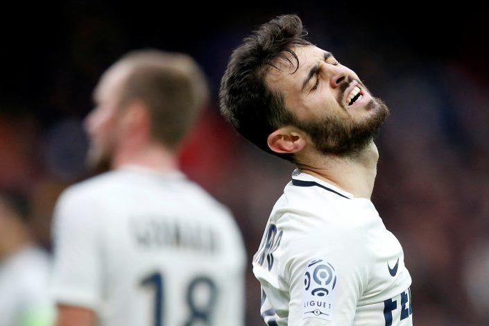Monaco's Bernardo Silva reacts.