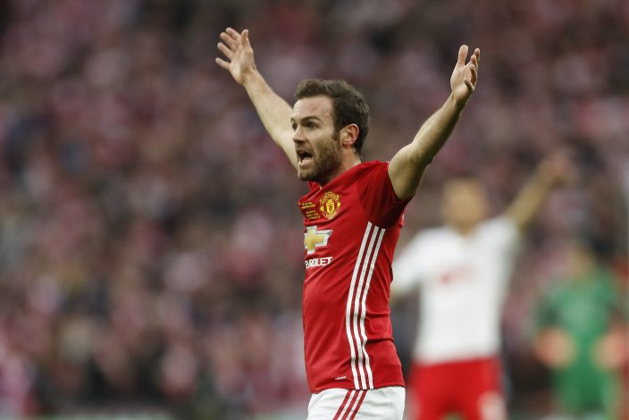 Manchester United's Juan Mata appeals for the goal to be disallowed for offside.