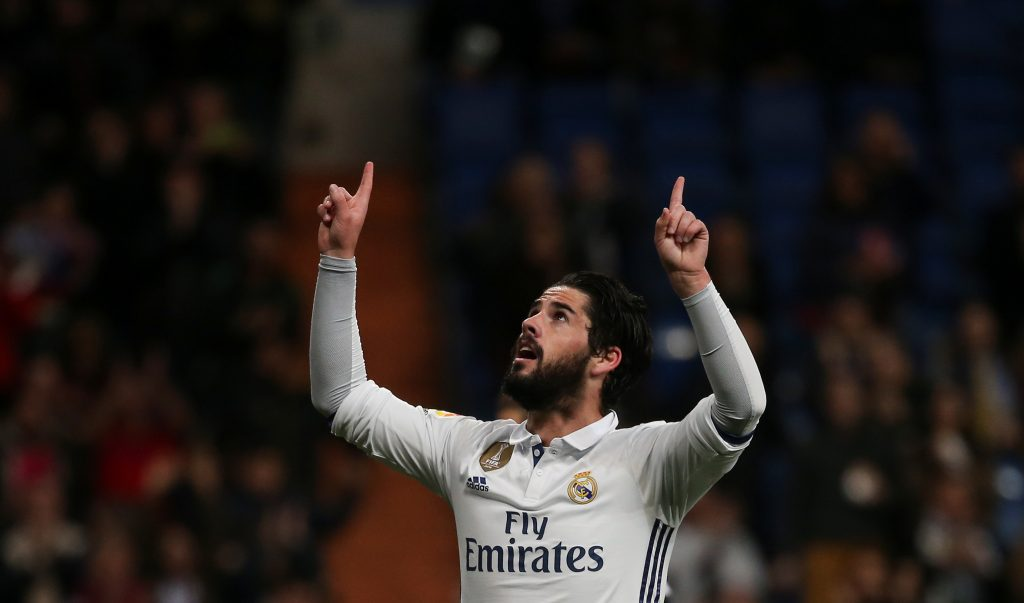 "Real Madrid's Francisco ""Isco"" Alarcon celebrates after scoring a goal."