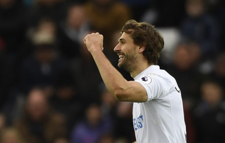 Swansea City's Fernando Llorente celebrates scoring their first goal.