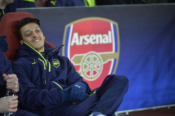 Arsenal's Mesut Ozil on the substitutes bench.