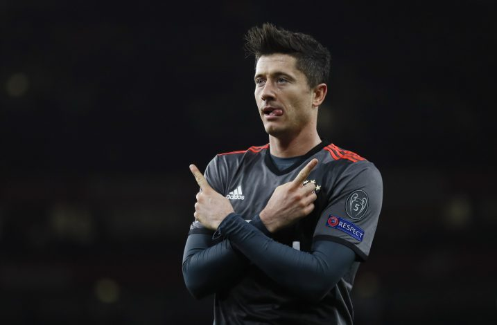 Bayern Munich's Robert Lewandowski celebrates scoring their first goal.
