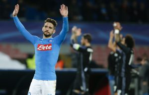 Napoli's Dries Mertens waves at the end of the match against Real Madrid.