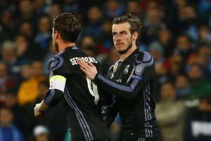 Real Madrid's Gareth Bale with Real Madrid's Sergio Ramos.