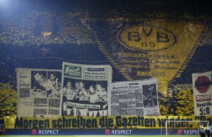 General view of Borussia Dortmund fans before the match.
