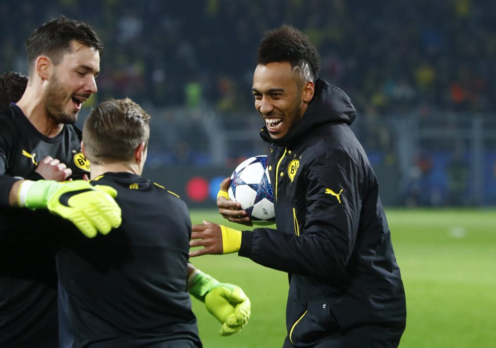 Borussia Dortmund's Pierre-Emerick Aubameyang with the matchball after scoring a hat trick.