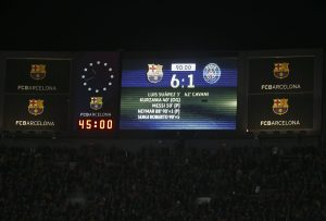 General view of the scoreboard at the end of the match.