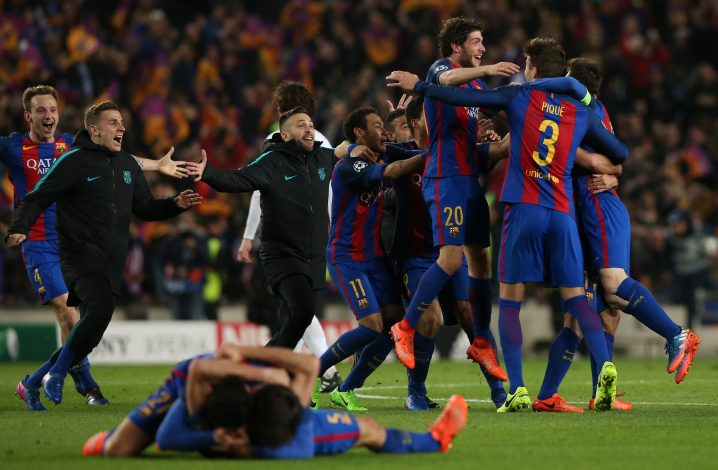 Barcelona players celebrate after the game.