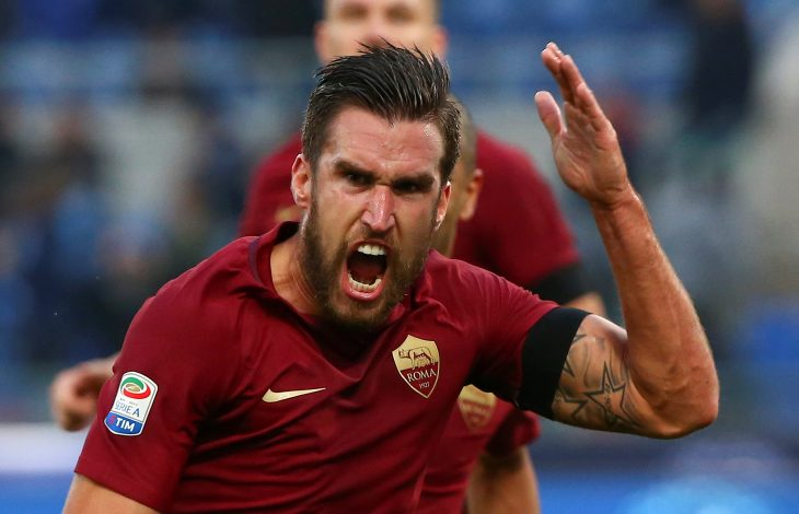 AS Roma's Kevin Strootman celebrates after scoring.