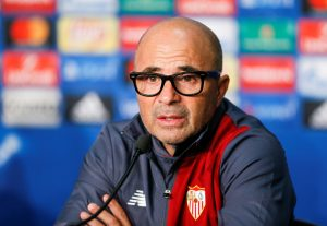 Sevilla's coach Jorge Sampaoli attends a media conference.