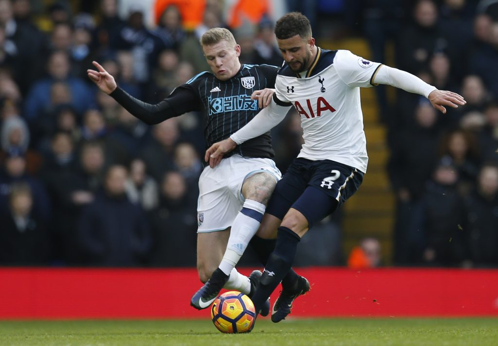 West Bromwich Albion's James McClean in action with Tottenham's Kyle Walker.